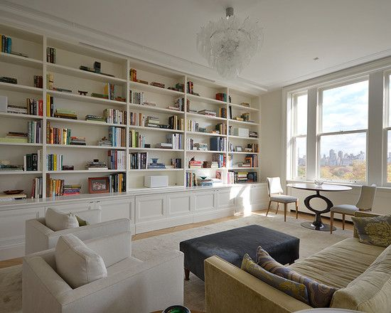 Exquisite Family Room Decor With Large Built In Bookshelf Design - Built in shelves in family room decorating