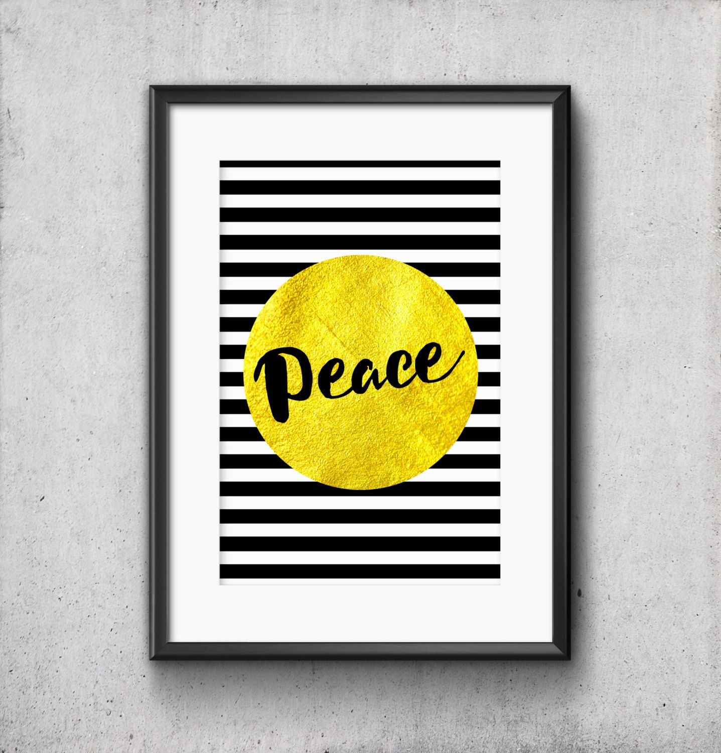 Peace Black White Stripes Gold Foil Typography Nursery Home Office ...
