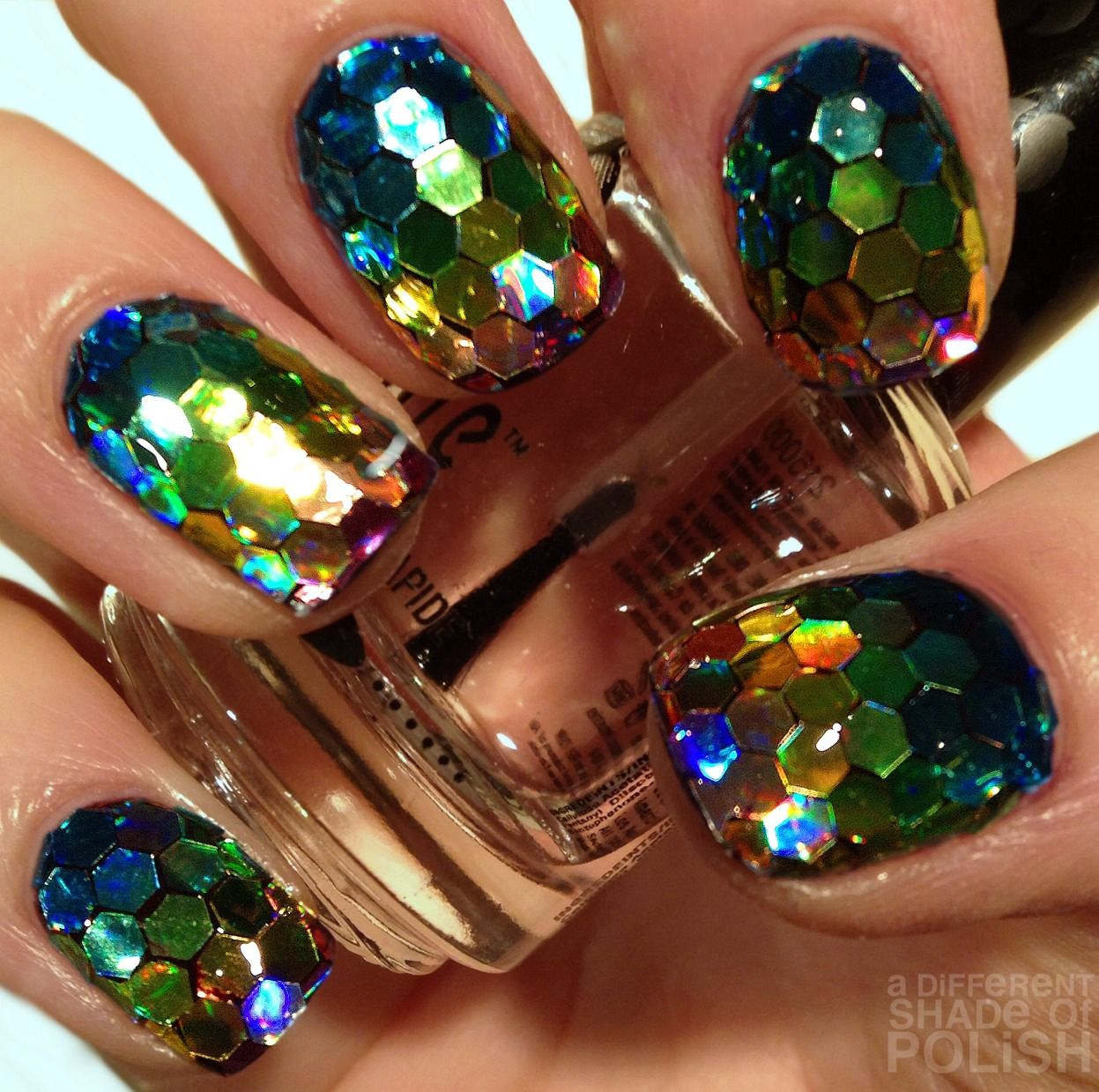 Glitter nails in different lighting , Fish Scale Nails, Dragon Nails, Mermaid Scales