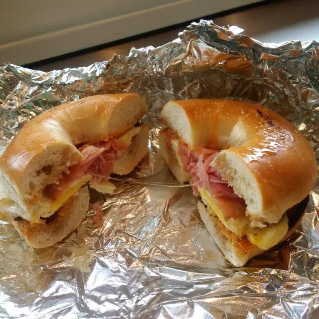 #1: Maple glazed prosciutto, tabasco, Vermont cheddar & egg on a bagel from #OhNoCafe Portland Maine