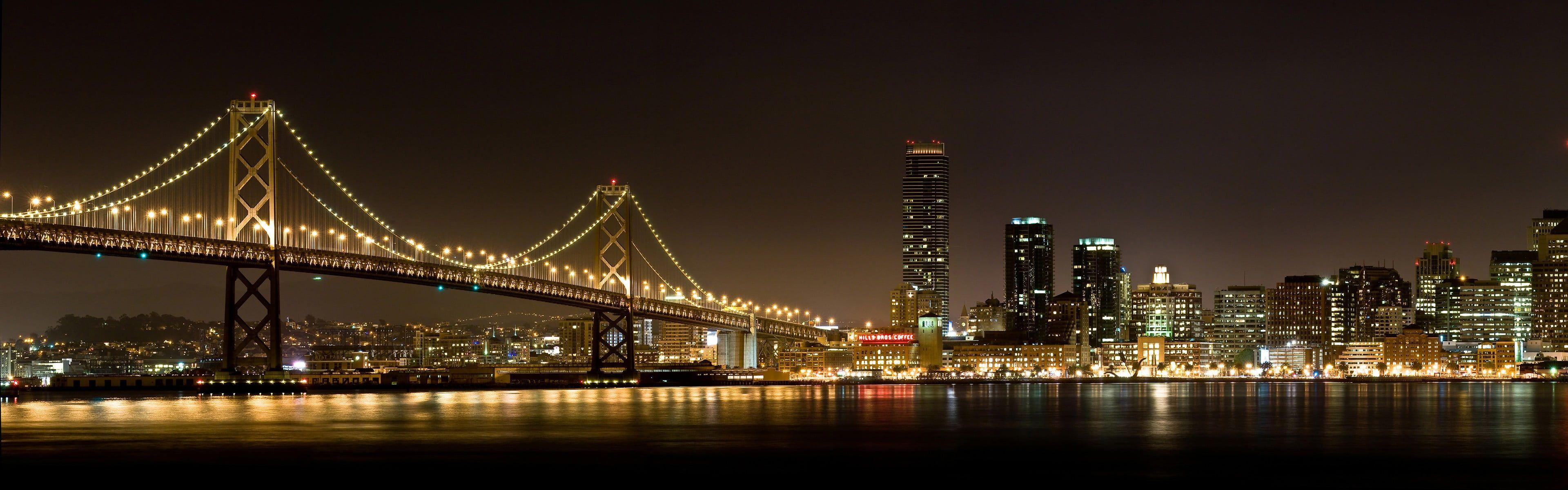 Brooklyn Bridge City Bridge Lights Night Reflection Multiple Display Dual Monitors 4k Wallpaper Hdwallpaper Deskt Brooklyn Bridge Bridge City Brooklyn