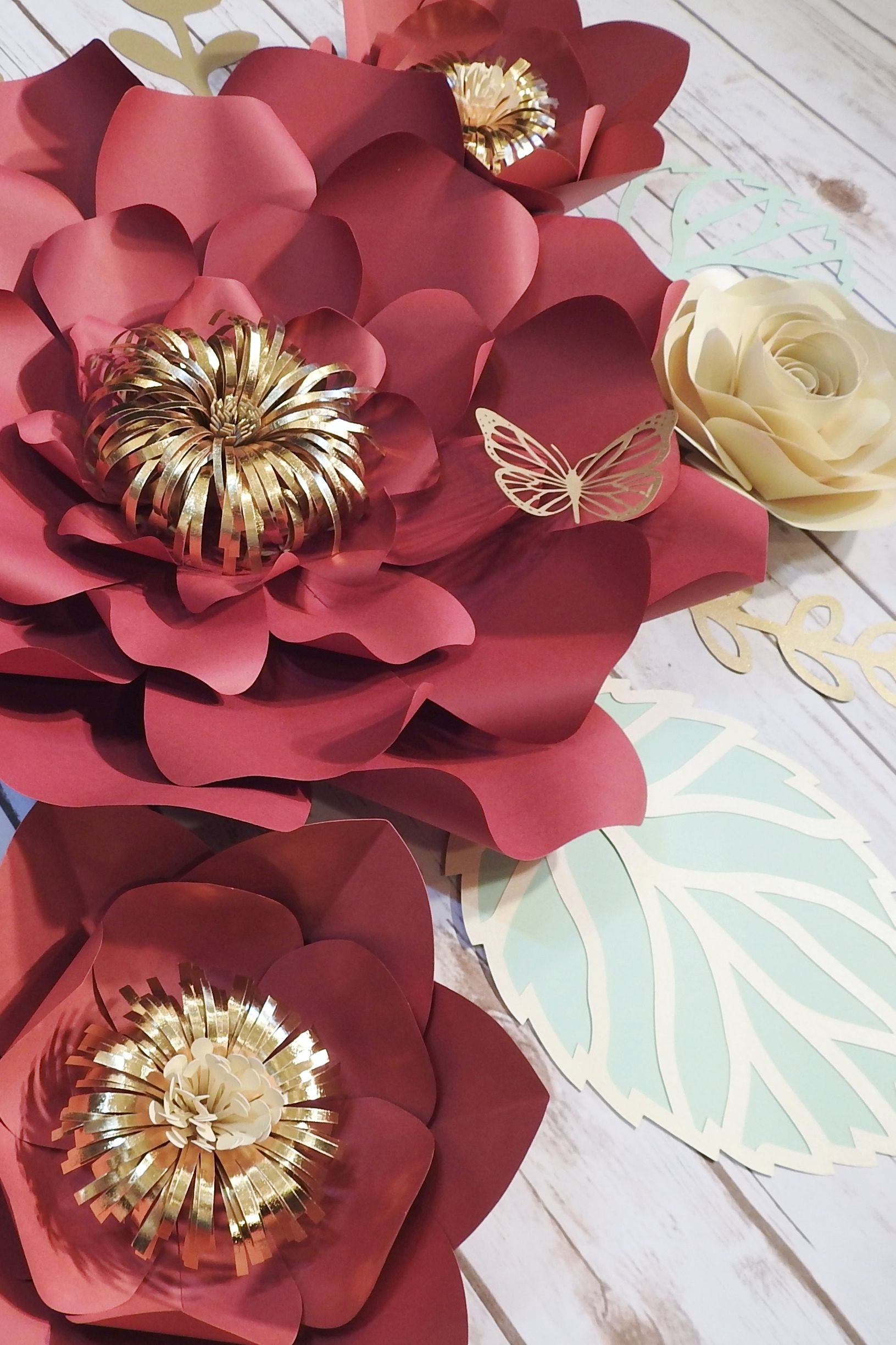 Large Paper Flowers Wall Decor Burgundy Wedding Backdrop Etsy Large Paper Flowers Paper Flower Decor Paper Flowers