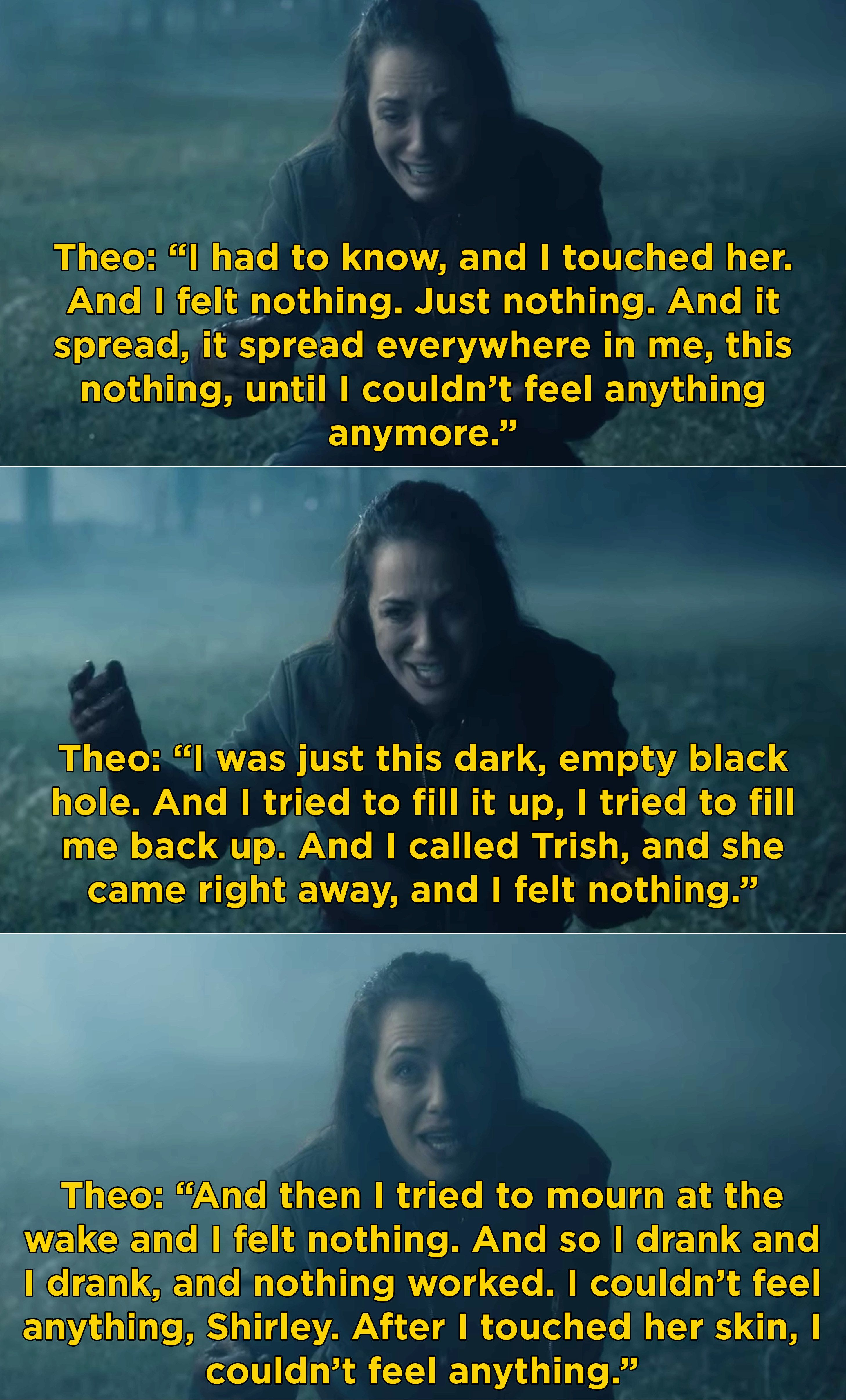 Perhaps you're like me, and Theo's monologue about not feeling anything on The Haunting of Hill House is a scene you think about at least once a day because Kate Siegel is just THAT good.