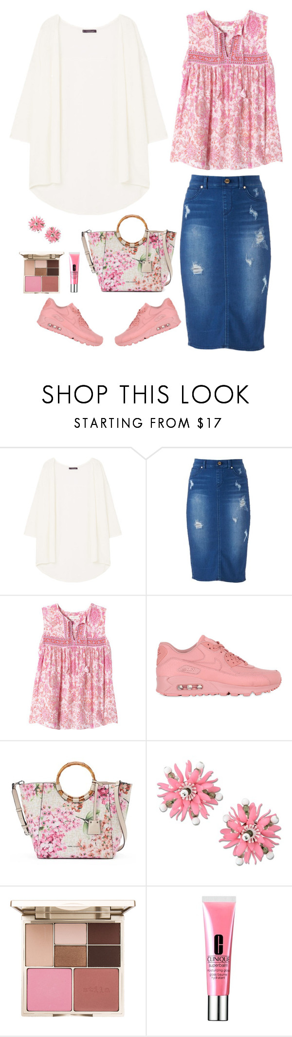 """Pretty Pink"" by musicfriend1 ❤ liked on Polyvore featuring MANGO, Jennifer Lopez, Rebecca Taylor, NIKE, Dana Buchman, Moschino, Stila and Clinique"