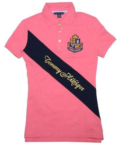 0380e397941430 Tommy Hilfiger Women Designer Logo Polo T-shirt (XL, Dark pink/navy ...