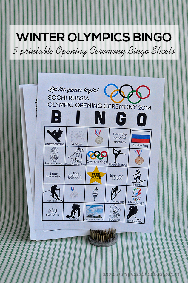 Printable Winter Olympics Opening Ceremony BINGO | Pinterest ...