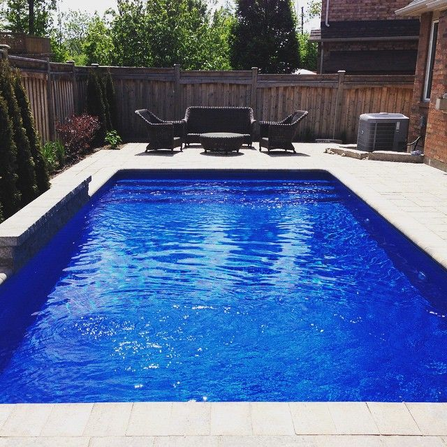 Small yard, large impact with a deep blue liner - Inground Pools - Pioneer Family Pools - We Know Pools, Hot Tubs