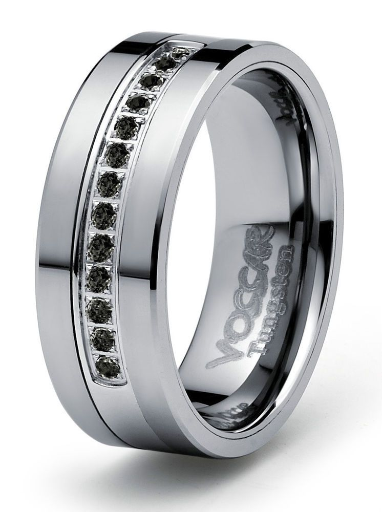 8mm 0 21ct Black Diamond Tungsten Modern Men S Wedding Ring Band