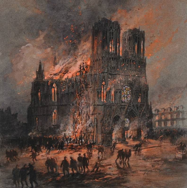 gustave fraipont incendio della cattedrale di reims 1914 1915 grandeguerra art pinterest. Black Bedroom Furniture Sets. Home Design Ideas