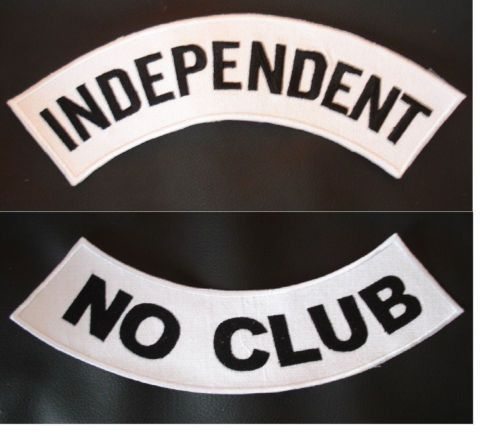 INDEPENDENT PATCHES SET NO CLUB BLACK & WHITE MOTORCYCLE