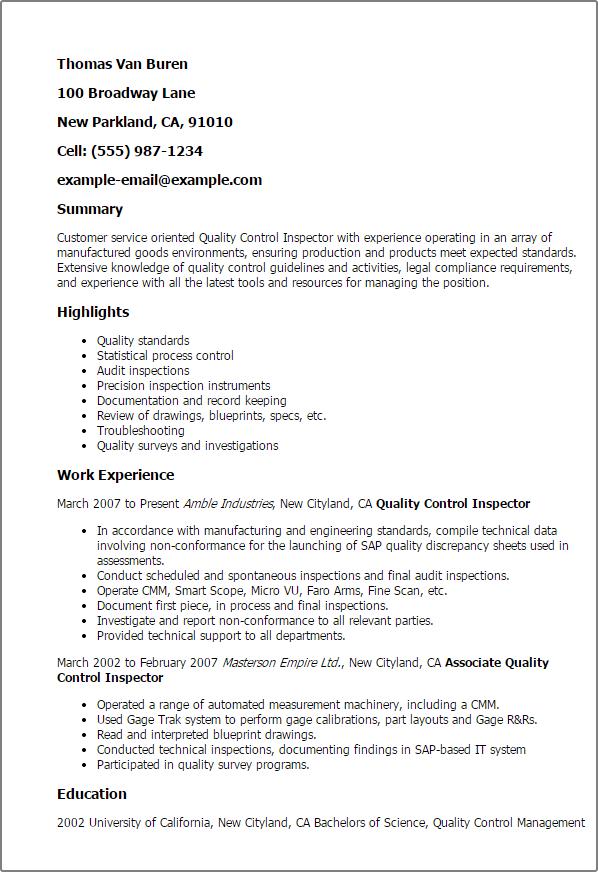 Myperfectresume Com Professional Quality Control Inspector Templates To Showcase Your F71ac72e Resumesample Resumefor Resume Examples Resume Sample Resume