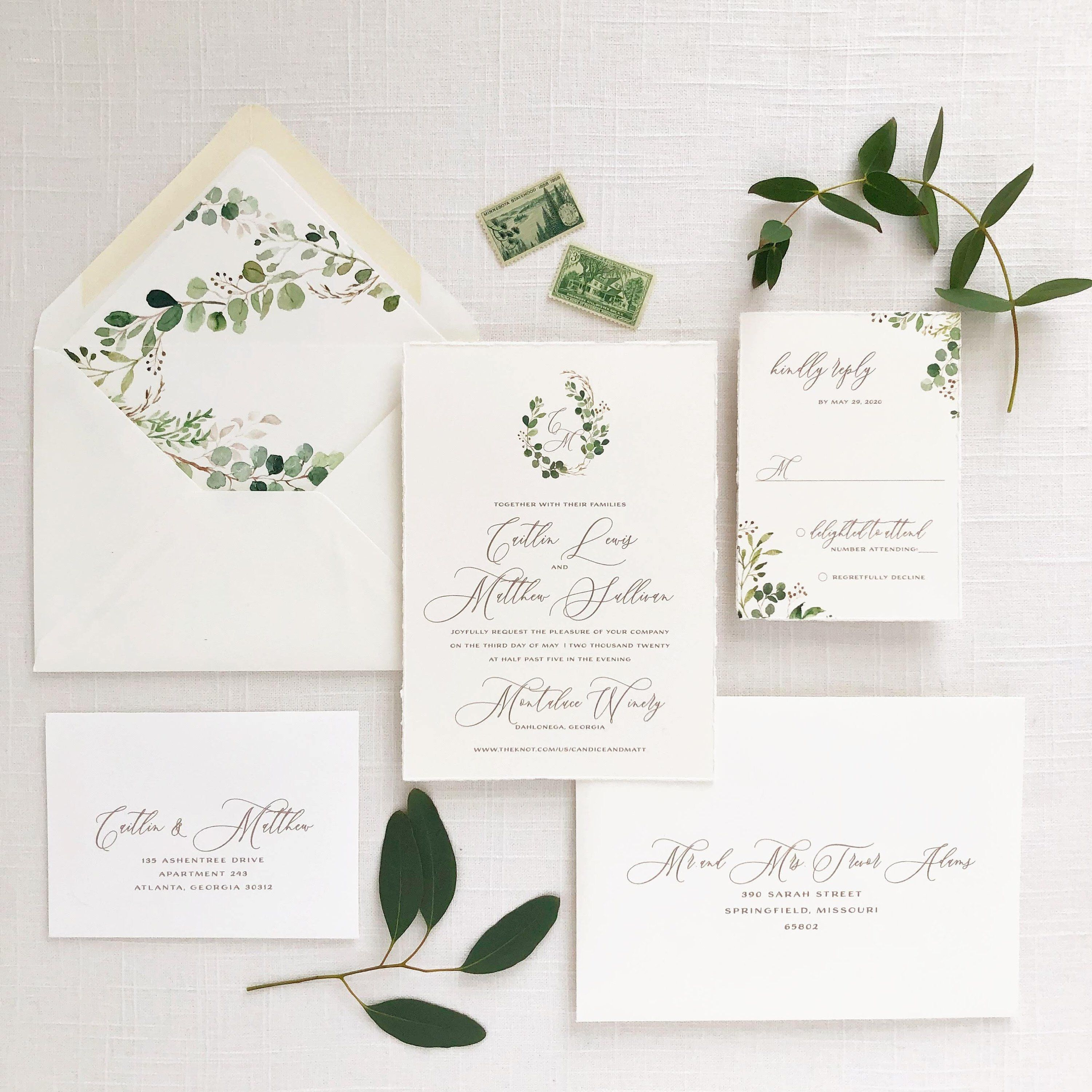 Greenery Crest Wedding Invitation Printed On Cotton Cardstock With