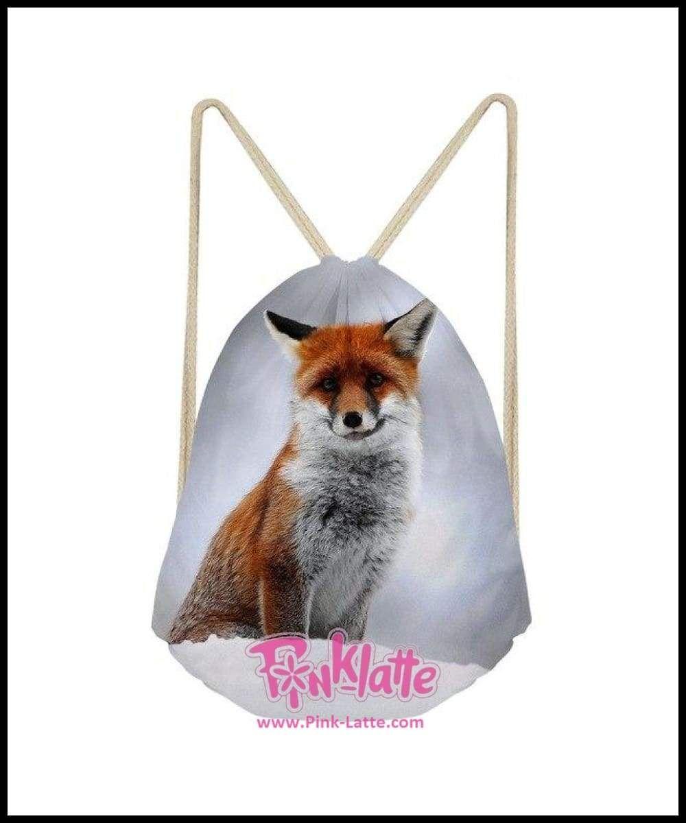 Cute Fox Small Drawstring Bag Boys Girls Kawaii Female Storage Bags