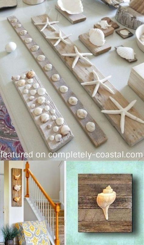 Photo of DIY Seashell Wall Art Decor Ideas | Mounting Shells on Wood Planks