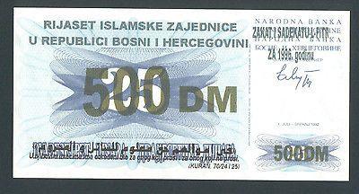 BOSNIA 500 German Mark 1996 UNC ISLAMIC COMMUNITY - ZAKAT - RIYASET - RIJASET. http://cgi.ebay.com/ws/eBayISAPI.dll?ViewItem&item=161196504707