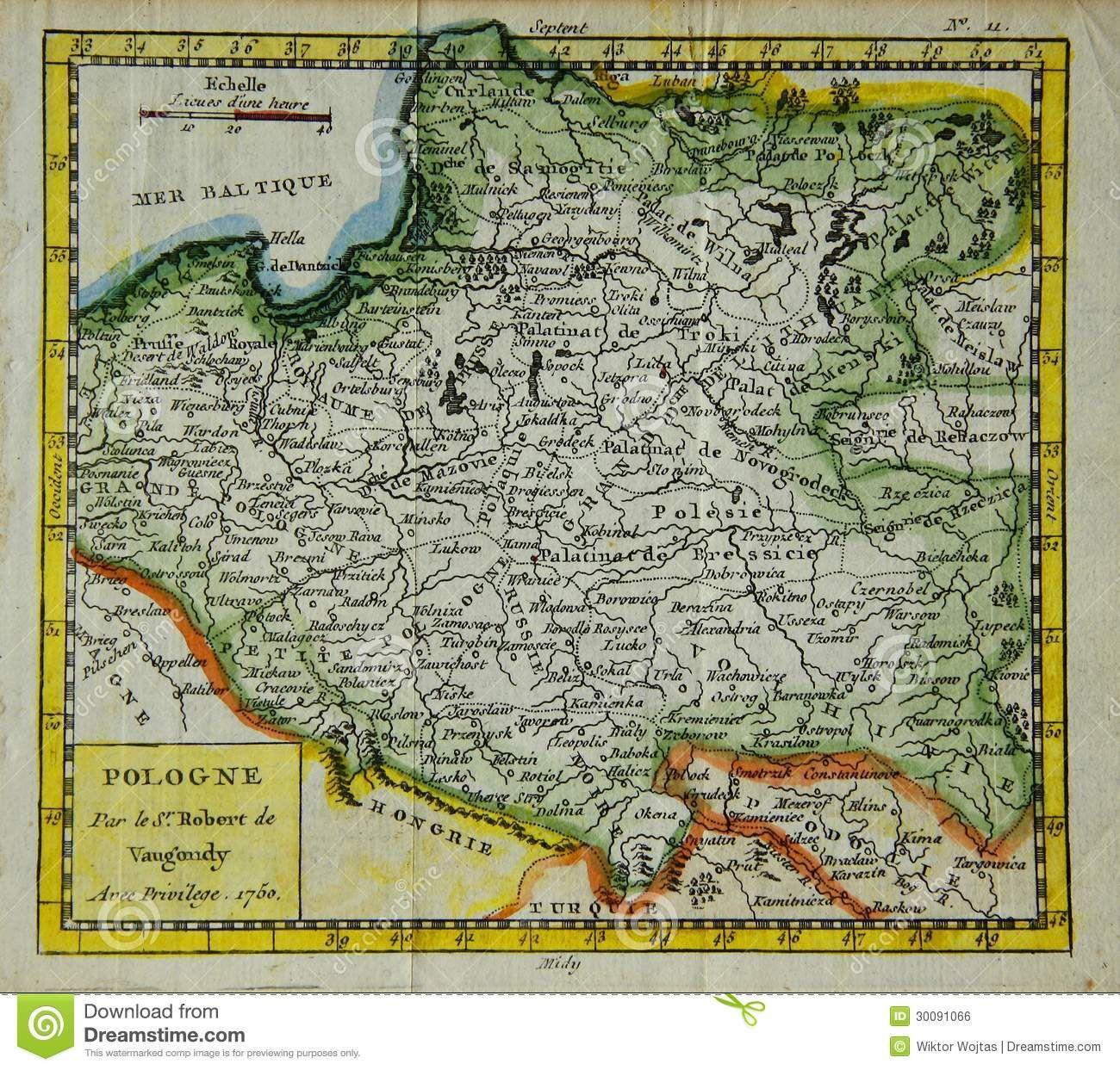 Stara Mapa Polska Old Maps Map Poland