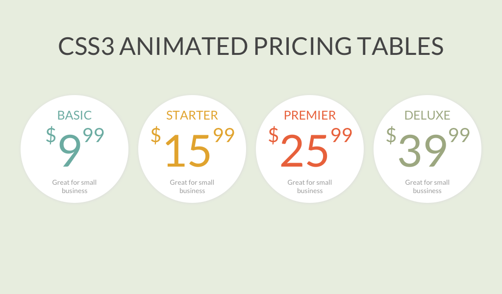 CSS3 Animated Pricing Tables | Coding | Website design