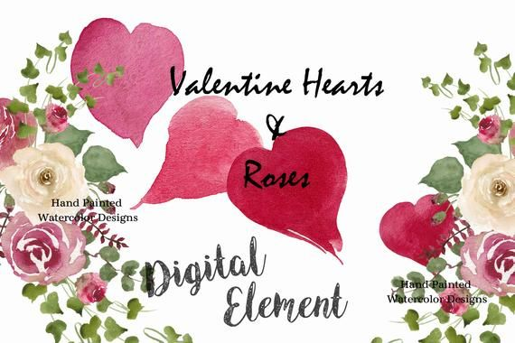 Valentine Hearts & Roses-watercolor Rose And Heart Clipart