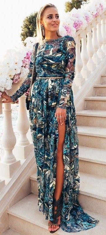 Printed Maxi Dress Source | Fashion | Boho wedding guest outfit