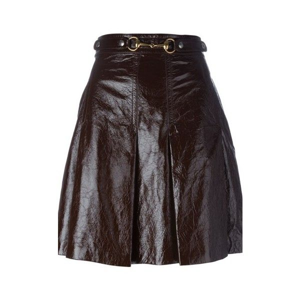 GUCCI Mini Skirt in Brown Leather ($2,066) ❤ liked on Polyvore featuring skirts, mini skirts, brown, short brown skirt, gucci, brown leather skirt, a line mini skirt and mini skirt