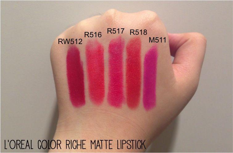 Loreal Paris Color Riche Moisture Matte Lipstick Swatches