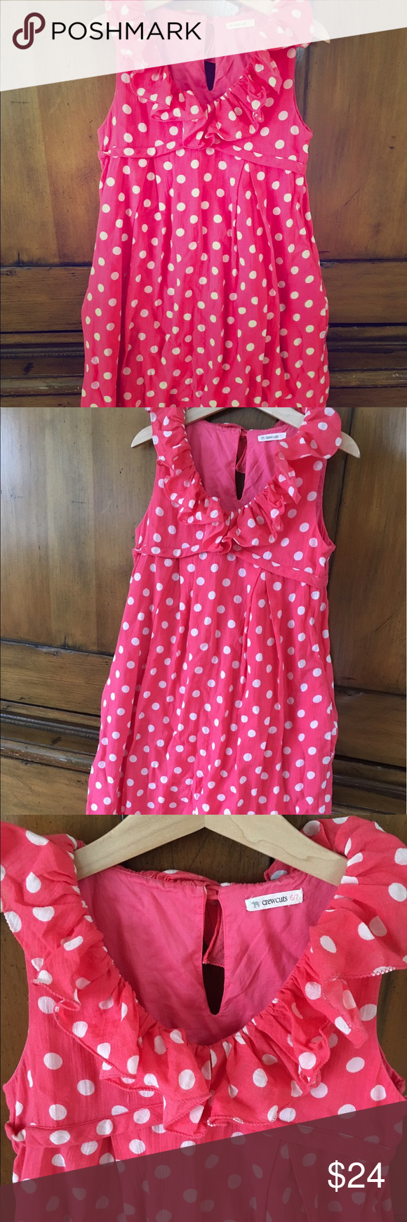 J Crew Crewcuts Girls polkadot pink dress 6/7 yrs This is a hardly worn polkadot pink and white frilly beautifully made dress by Crewcuts J Crew. Size 6/7. No flaws or signs of wear except for one little spot where there's a small snag (see last pic). Thanks for looking! j Crew Dresses Formal
