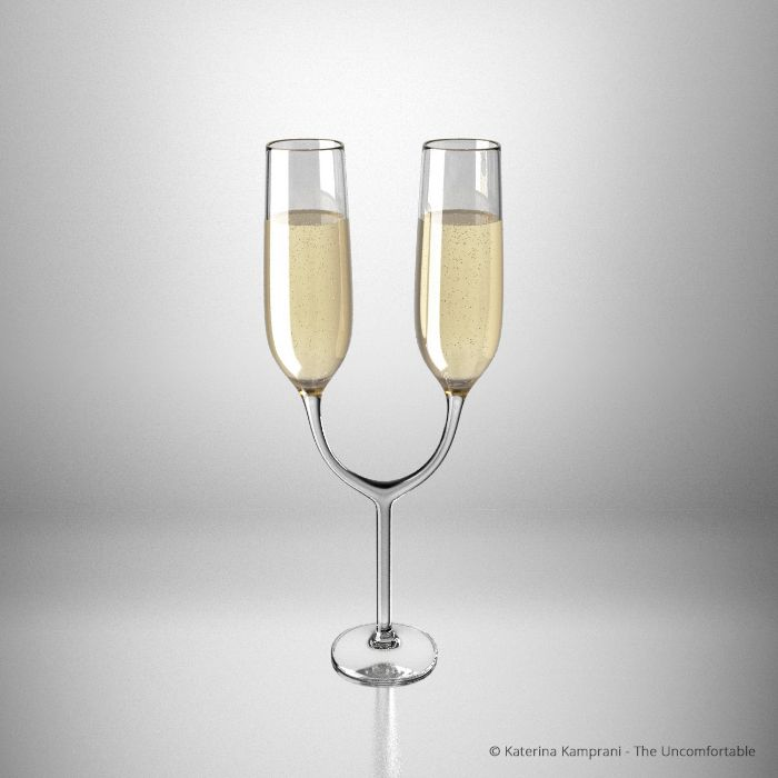 The Uncomfortable Champagne Glasses Everyday Objects - Designer creates totally useless everyday products that will leave you in a rage