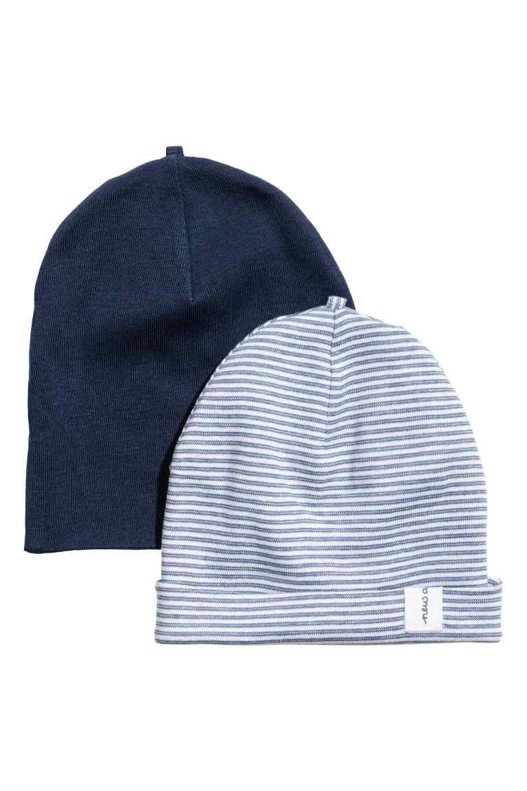 Lot de 2 bonnets en jersey - Bleu foncé - ENFANT   H M FR 1 085d7eebeca