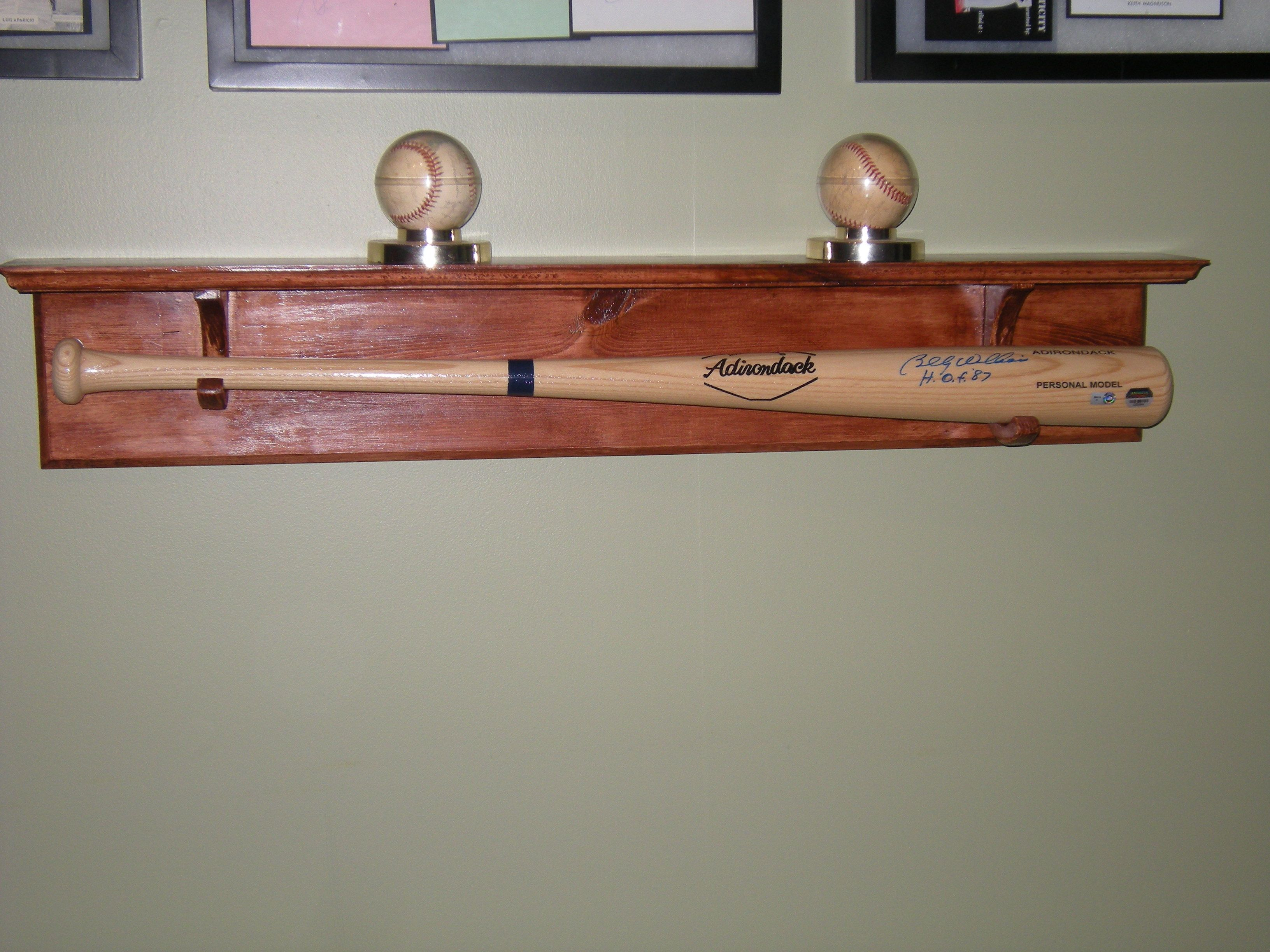 Handmade Custom Baseball Bat Holder With Shelf Baseball Bedroom