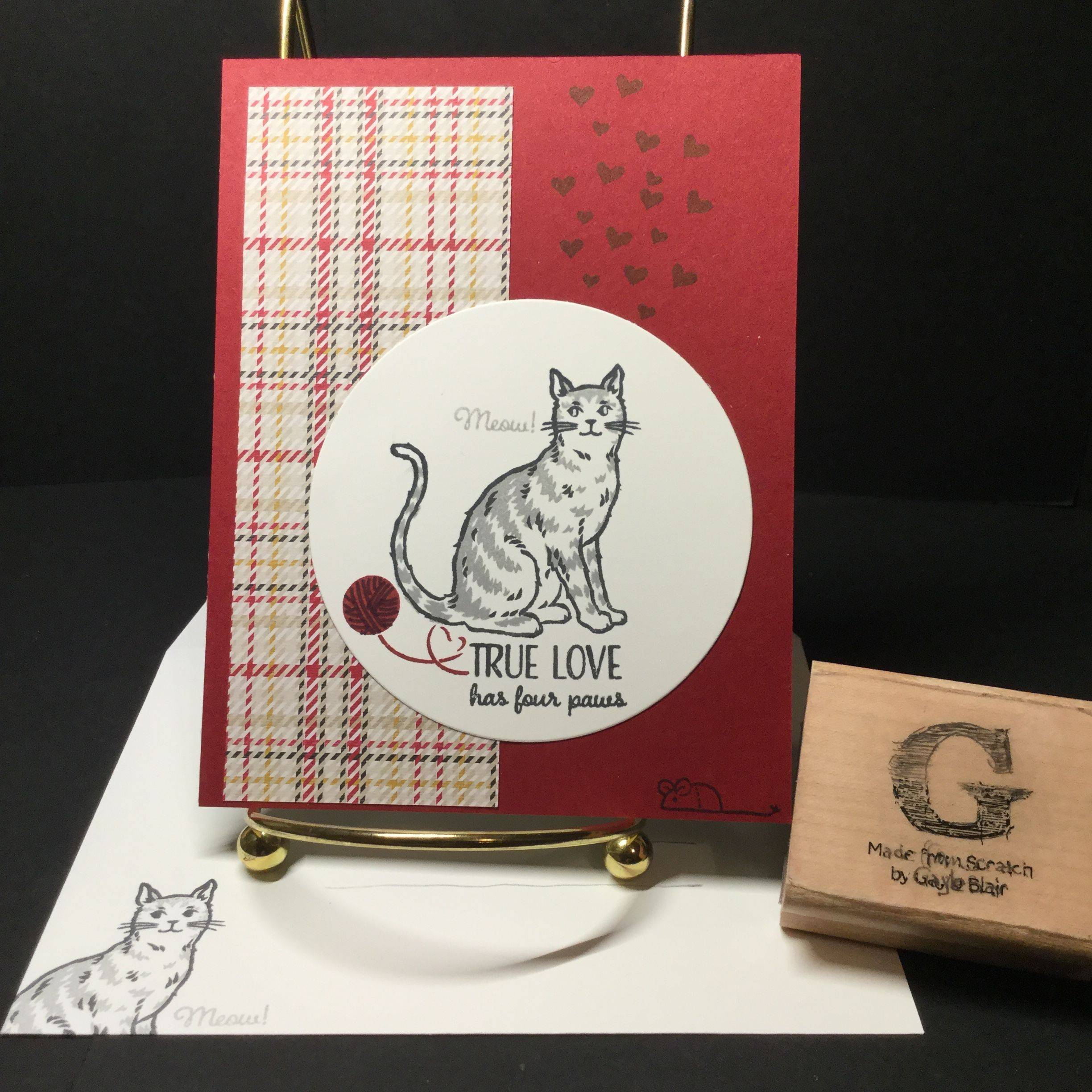 Stampin' Up: Nine Lives cat set (retired DSP Warmth & Cheer 2016) | 2019 Occasions Catalog | Cat