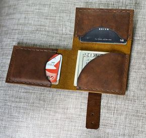 Men's Leather Wallet, Leather Billfold, leather slim wallet men, men wallet handmade, leather snap wallet #nikolausgeschenkmann