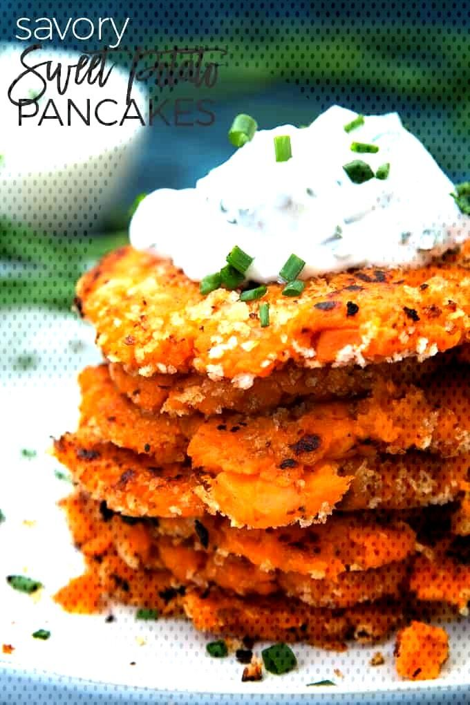 Sweet Potato Pancakes with Chive Dipping Sauce These savory sweet potato pancakes are perfect for l