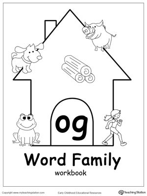 og word family workbook for kindergarten coloring thinking skills and word families. Black Bedroom Furniture Sets. Home Design Ideas