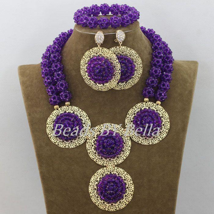 Trendy Nigerian Wedding Beads African Jewellery Set Purple Crystal ...