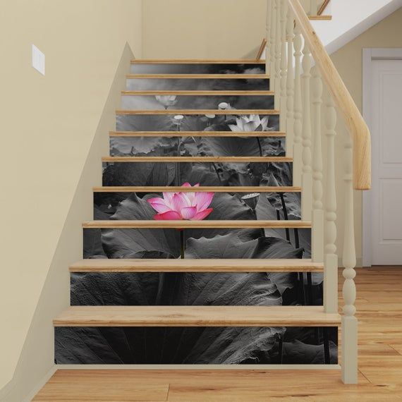 Simple Updates To Transform Your: Black & White Water Lily STAIRS MURAL Peel And Stick Stair