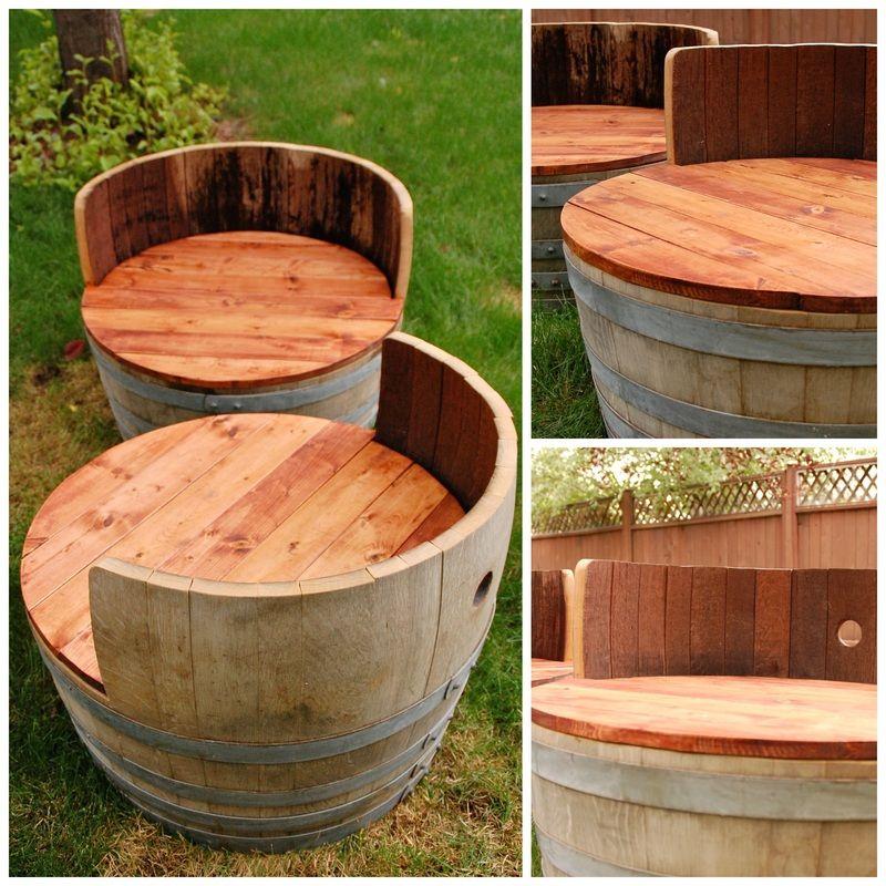 Wine barrel seats creativelyinclined diy decor for Diy wine barrel planter