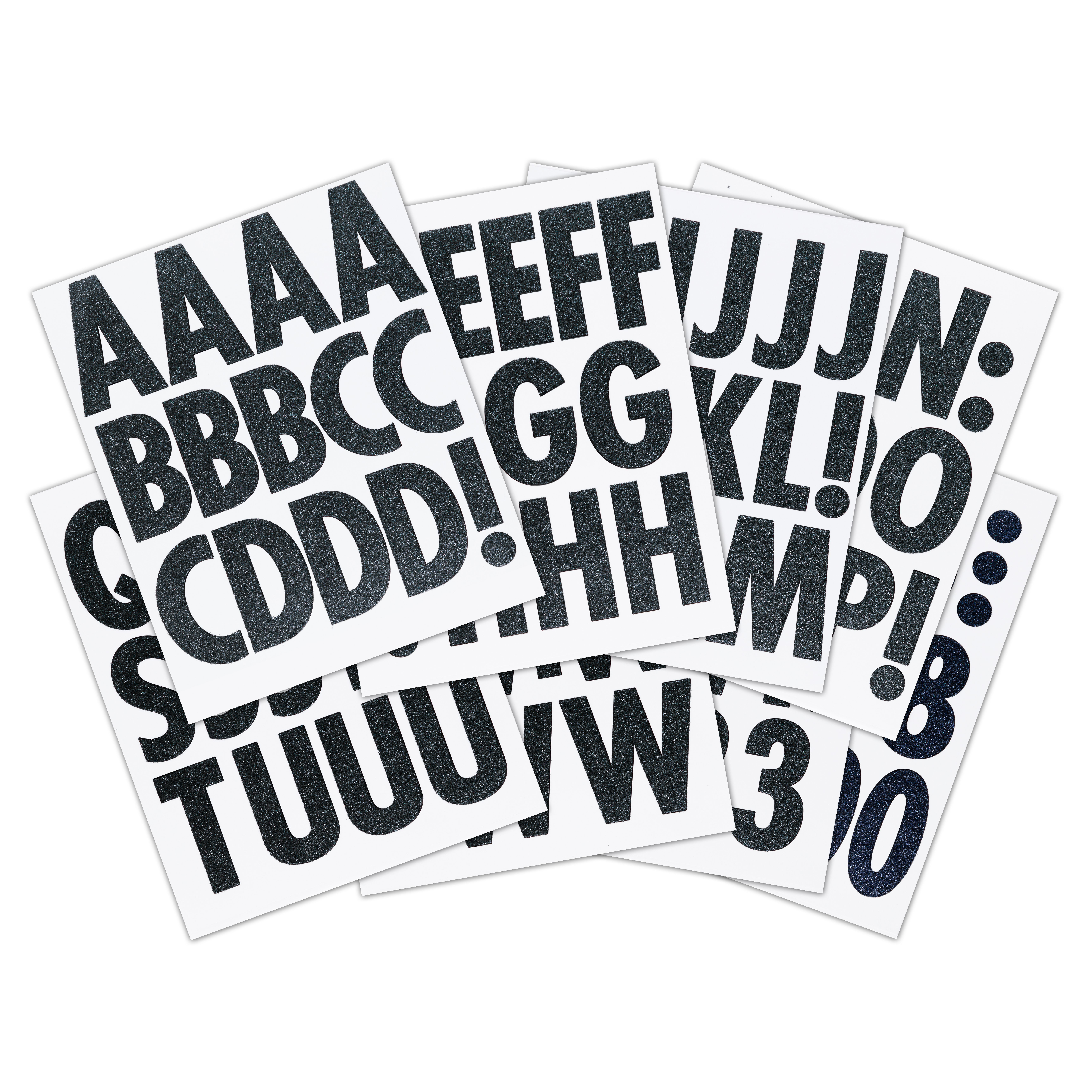 Black Glitter Extra Large Alphabet Sticker Futura Regular Alphabet Stickers Lettering Alphabet Black Glitter