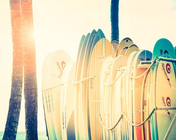 Surf Decor, Surfboard Art, Hawaii, Beach Print, Waikiki, Beach House ...
