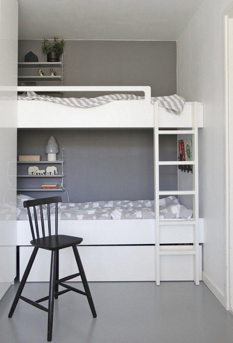 weies etagenbett und graue wandfarbe - Etagenbetten Fr Teenager Jungen