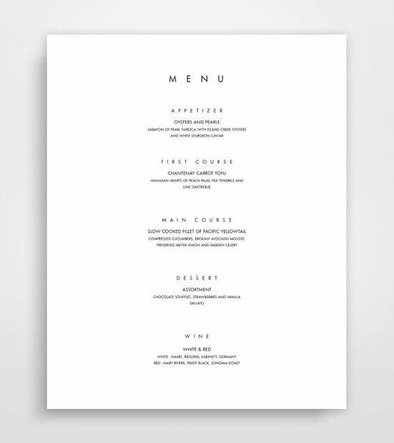 Plantilla de menú, menú para imprimir, menú moderno, minimalista ...