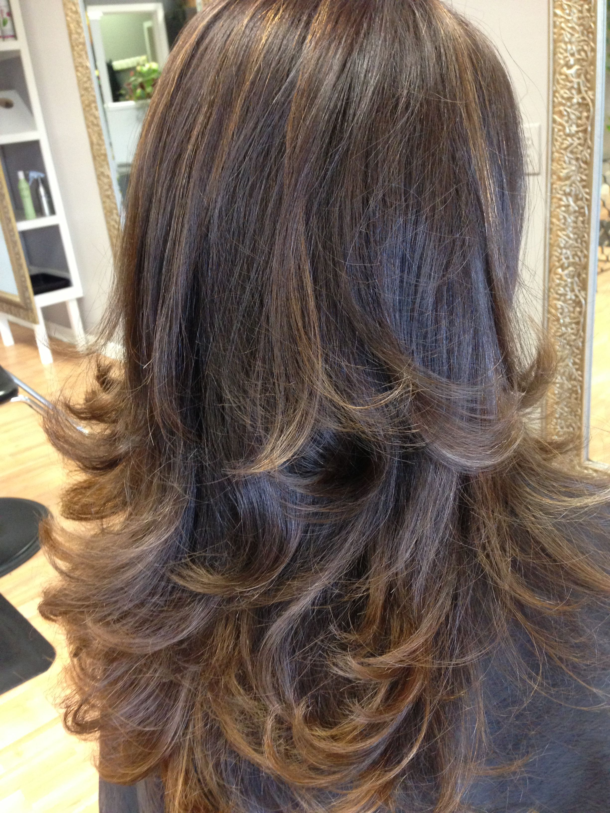 Long layers with buttery caramel highlights Hair by PAULA Paula
