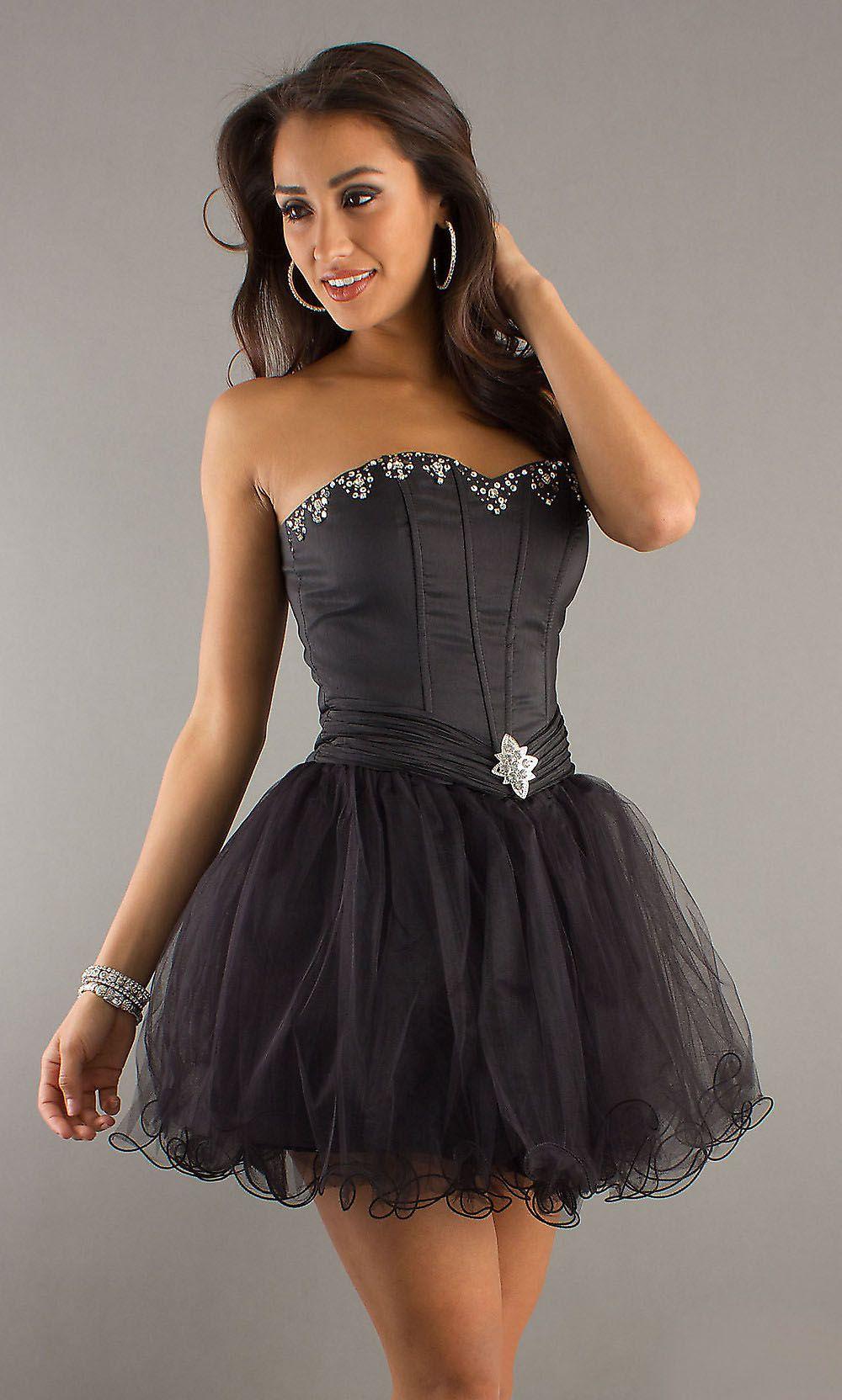 Ballerina mesh skirt black dress corset bodice strapless short