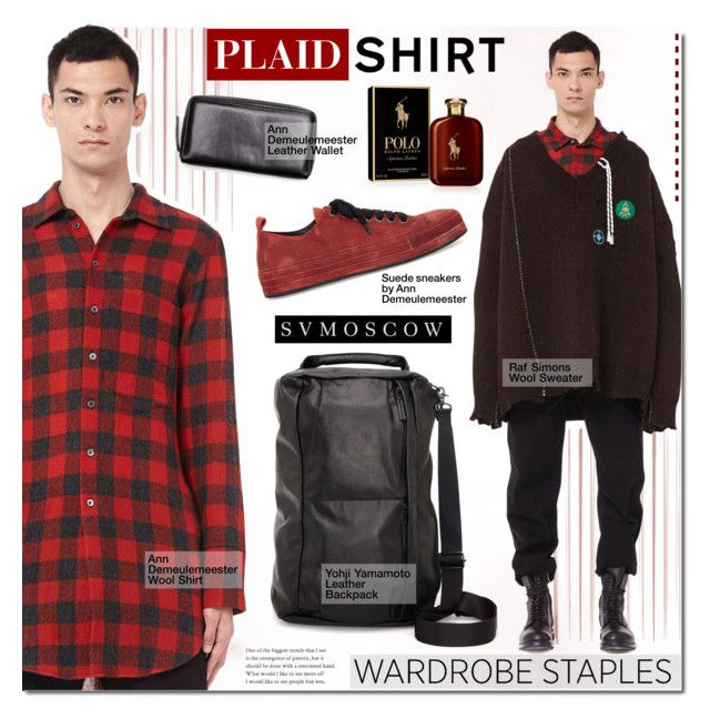 """SV Moscow"" by mada-malureanu ❤ liked on Polyvore featuring Ann Demeulemeester, Raf Simons, Yohji Yamamoto, Ralph Lauren, men's fashion, menswear, plaid, WardrobeStaples and svmoscow"
