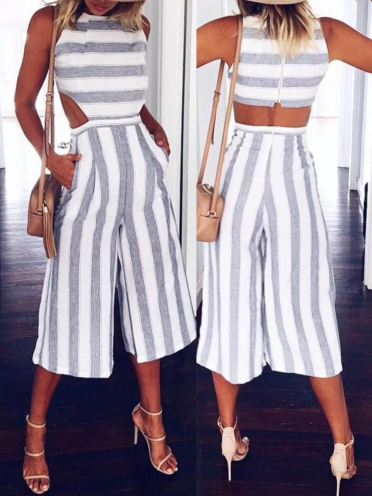 Casual Chunky Stripes Cutout Wide Leg Jumpsuit #casualjumpsuit