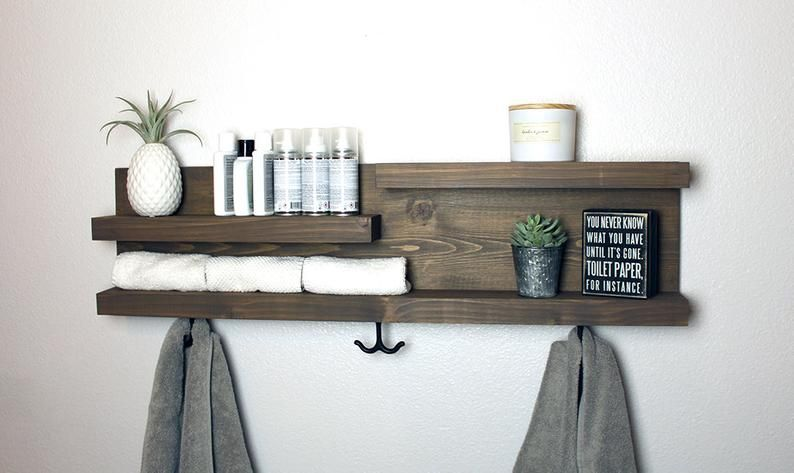 32 Bathroom Shelf Organizer With Towel Hooks Modern Farmhouse Decor In 2020 Shelves Bathroom Shelf Organization Bathroom Shelves