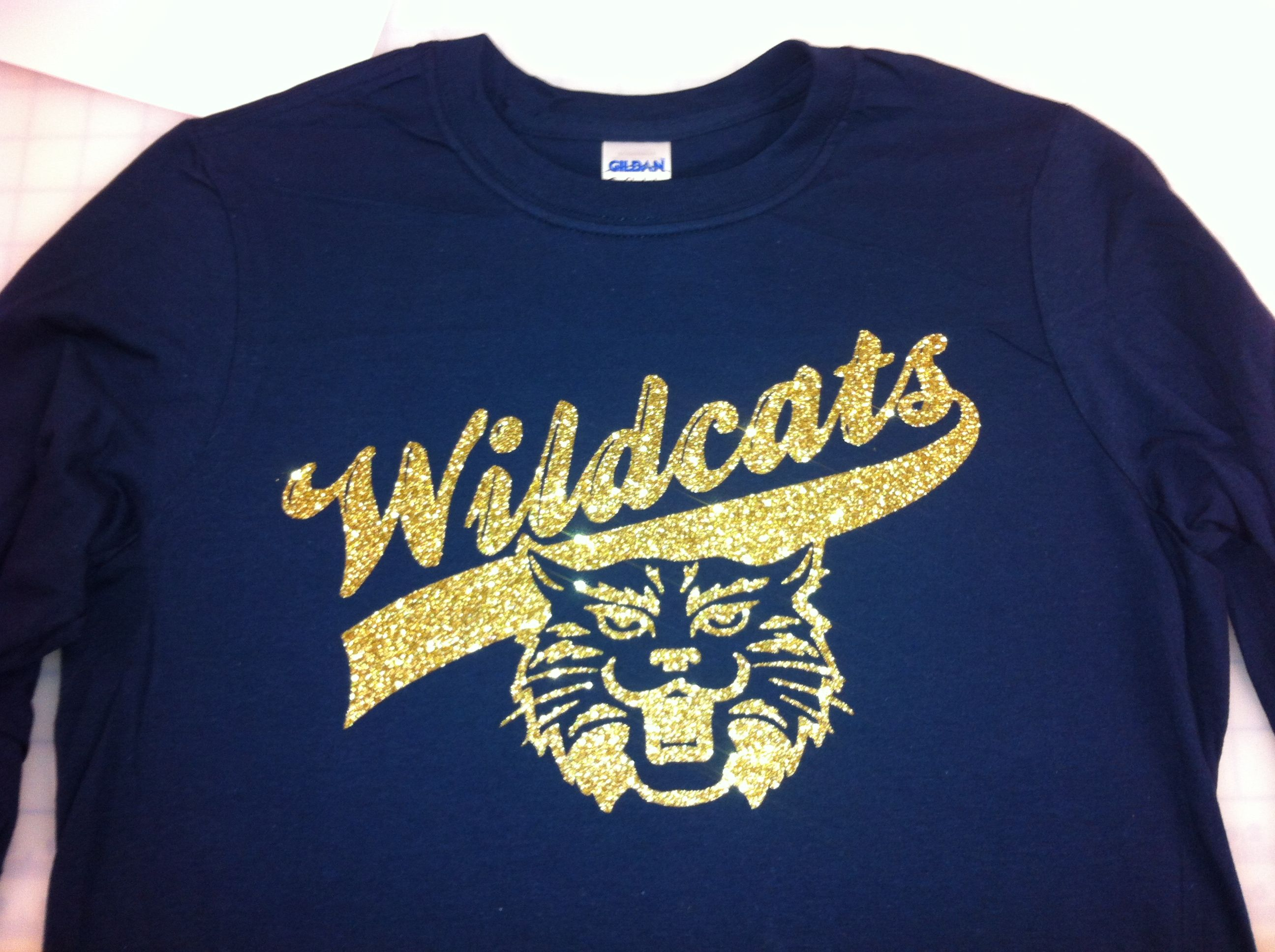 Glitter Wildcat Mascot Design On Long Sleeve Top Super Cute To