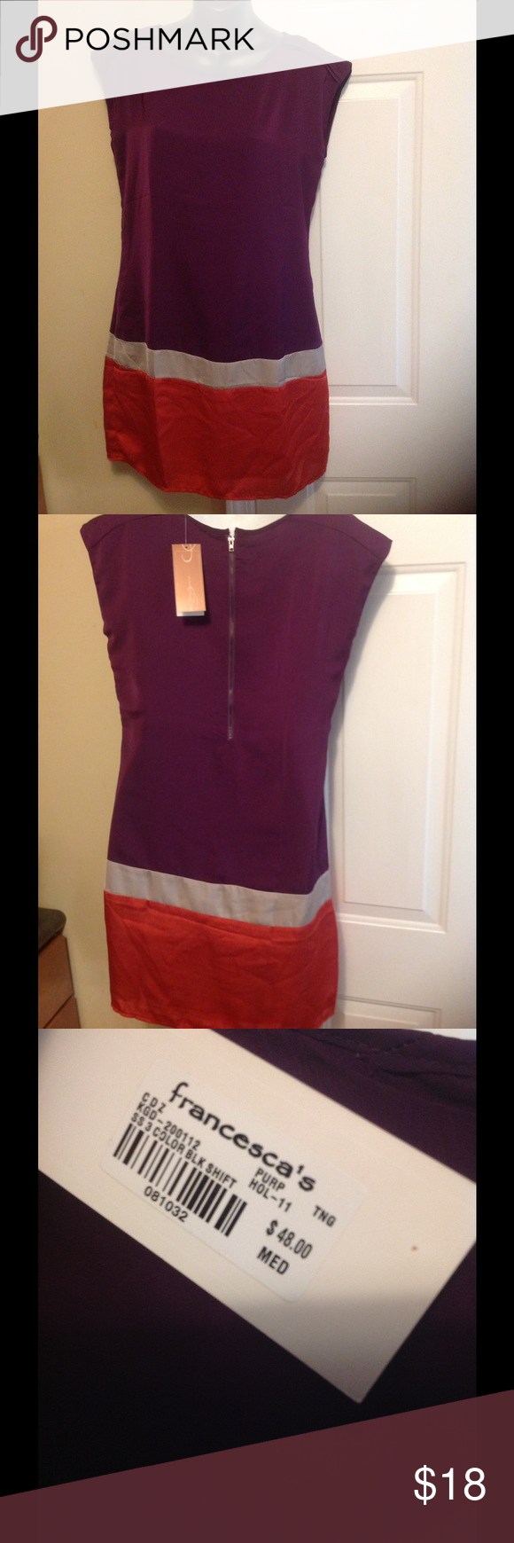 🆕 Criss Cross color block shift dress 🆕 Criss Cross color block shift dress bought from Francesca's. Size medium (fits like a small). Colors are purple, tan & orange. Never worn, but would be super cute with leggings too. Francesca's Collections Dresses Mini
