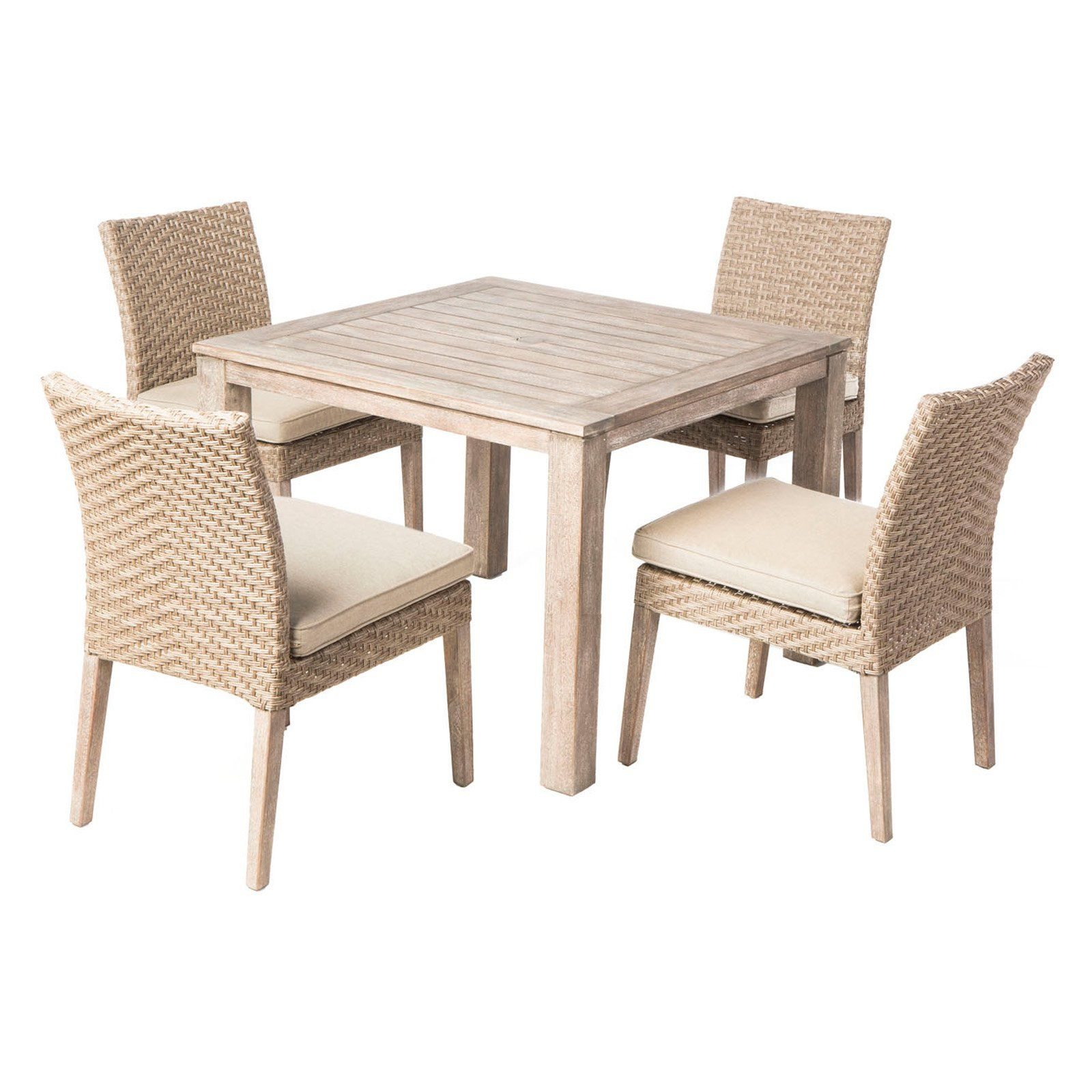 Outdoor Alfresco Home Cornwall Woven Wood Patio Dining Set Seats