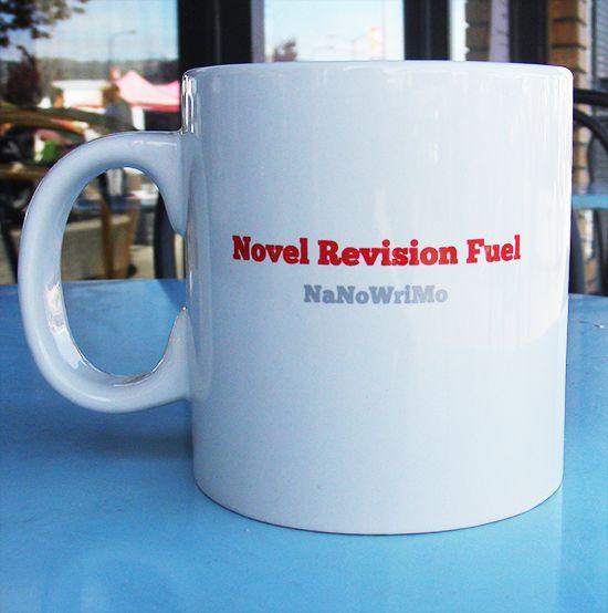 "NaNoWriMo's Jumbo ""Novel Revision Fuel"" Mug | National Novel Writing Month Donation Station and Store"