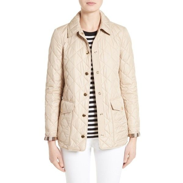 Women S Burberry Westbridge Quilted Jacket 695 Liked On Polyvore Featuring Outerwear Jackets Dark Stone Quilted Jacket Jackets Women S Coats Jackets
